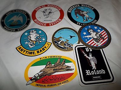 Lot of Vintage Military Bumper Stickers and Aircraft Decals, Window Stickers