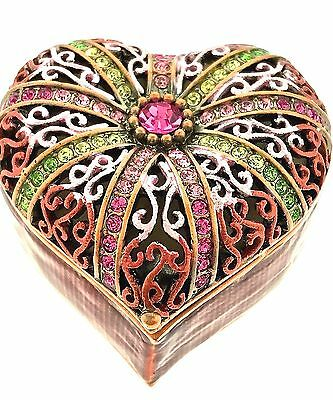 Pink Heart Jewelry Trinket Box 1486K Crystal Enameled Bejewel Hinged Collectible