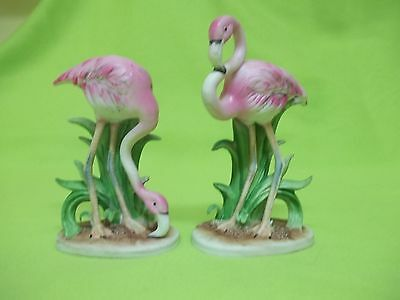 Vintage Lefton China Set of (2) Pink Flamingo Birds Figurines
