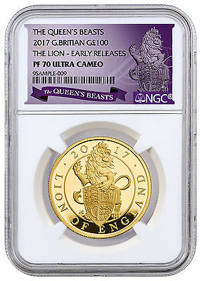 2017 Great Britain 100P 1 oz. Gold Queen's Beasts - Lion NGC PF70 UC ER SKU45019