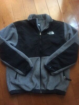 THE NORTH FACE Zip Up Front Black & Gray Fleece Jacket Coat Boy's Size L 14 / 16