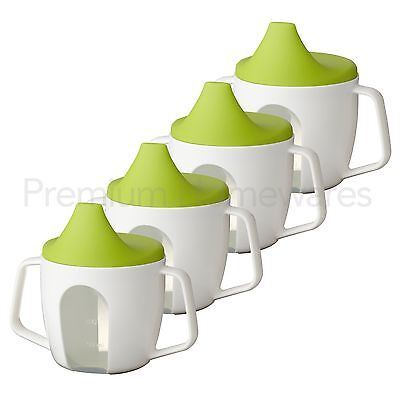 4 x IKEA BÖRJA (Borja) White & Green Baby Training Beakers/Sip Cups (200ml)