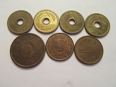Lot of 7 Japan Coins, nice details, mixed dates & denominations