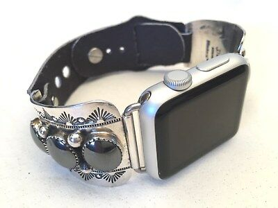 Handcrafted Native American Apple WATCH Band 38mm (3 Stone Hematite)
