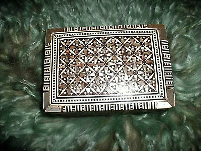 Old Marquetry micro mosaic Mother of pearl MOP and Wood Trinket Box