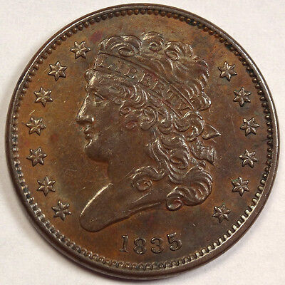 1835 Half Cent, Ex-Sears Hoard, Brown Uncirculated Coin