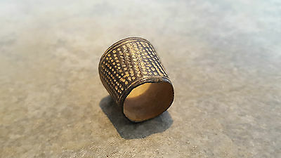 Ancient Medieval Bronze RING (#2) Open THIMBLE Ring, Dots, Intact And Wearable