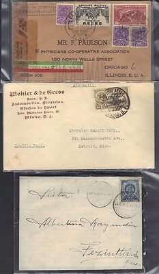 MEXICO 1902-40's THREE COVERS MOURNING AIR MAIL & CENSORED