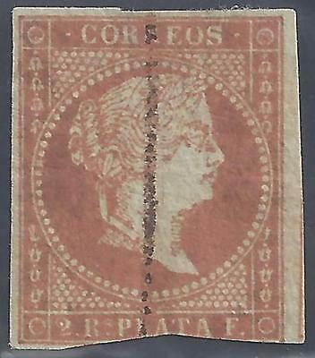 SPAIN 1856 TWO R QUEEN ISABELLA Sc 47