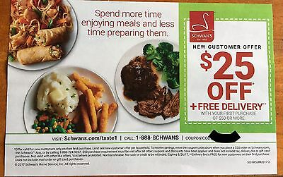 Schwan's $25 Off & Fr33 Delivery Off First $50 Purchase Expires 8/26/17