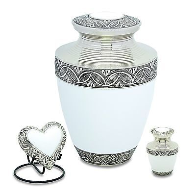 Grecian White Set of 3 - Adult, Keepsake, Heart - Cremation Urns for Ashes