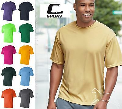 C2 Mens Sport Short Sleeve Blank Workout Performance T Shirt 5100 Up to 3XL