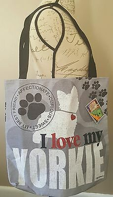 I Love My Yorkie Tote Bag Kathy Middlebrook Durable Quality Beach Store Bag NEW