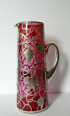 """Antique Sterling Silver Overlay Cranbery Glass Pitcher 10"""""""