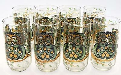 8 Libbey  Hostess Owl Glasses Tumblers 14  ounces  Mid Century Retro 5 5/8 inch