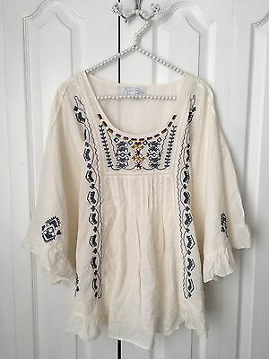 Jessica Simpson Maternity Embroidered Batwing Sleeve Cotton Top Size L Large