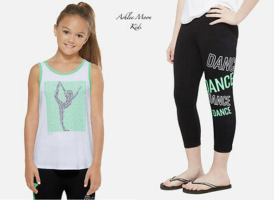 NWT JUSTICE GIRLS 7  DANCE Ringer Tank & DANCE Crop Leggings Outfit