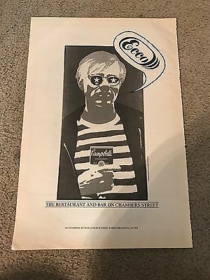 Vintage 1980s ANDY WARHOL CAMPBELL'S SOUP Art ECCO Print Ad NEW YORK NY NYC RARE