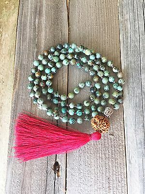 108 Bead Mala Green African Turquoise Prayer Beads With Rudraksha And Buddha