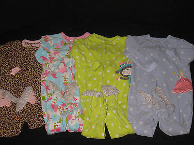 Girls Size 2T 24 Months Fleece Carters Sleepers  Clothes lot