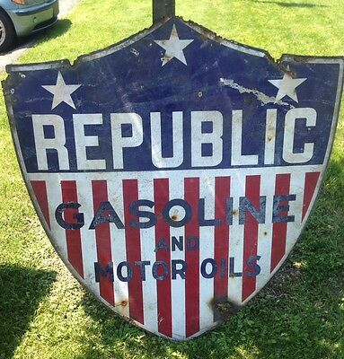 """Republic Gasoline And Oil Double Sided Porcelain Advertisement Sign 48""""x52"""""""