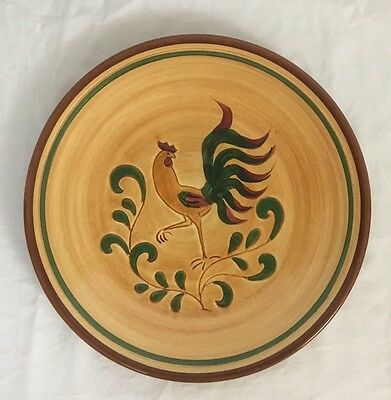 "Vintage Pennbsury Pottery 11"" Hand Painted Rooster Dinner Plate"