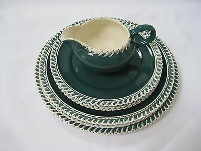 Vintage HARKERWARE  Teal Green White Plates and Creamer 7 Piece Lot