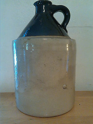 Vintage Brown Topped 1 Gallon Salt Glaze Bumpy Stoneware Whiskey Jug Crock
