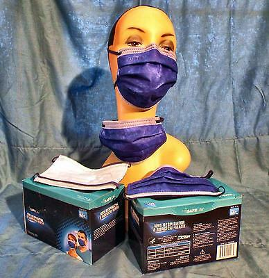 "NEW ""SAFE LIFE N-95"" RESPIRATOR SURGICAL MASK M/LG 1 BOX of 25 W/ FREE SHIPPING!"