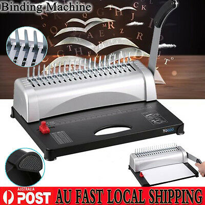 Paper Office Comb Binding Machine 21 Hole A4 Plastic Coil Punch Binder Latest GR