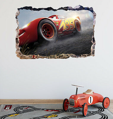 LIGHTINING MCQUEEN Disney Cars Smashed Wall 3D Decal Removable Wall Sticker H164