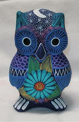 Colorful Clay Hand-painted Owl Figurine Mexican Folk Art Great Gift Item MO2