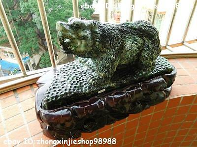Chinese Natural jadeite emerald Jade carving Bear animal Statue