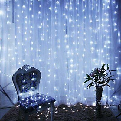 White 300 LED 3x3m Fairy Curtain String Lights Wedding Party Perfect Holiday