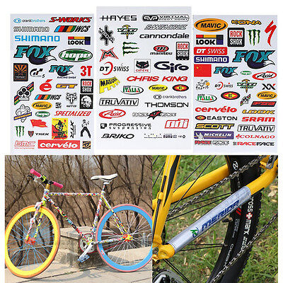 3 Sheets Bicycle Car Cycling Sticker MTB Bike Vouge Skateboard Decal Stickers