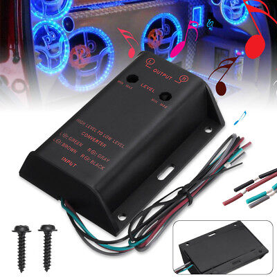 2RCA Car Audio Speaker High- Low Level Output Amplifier Converter Adapter