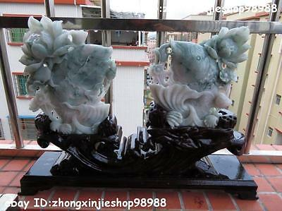 China Natural jadeite emerald Jade Fengshui lotus Fish carp Statue sculpture