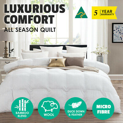 Aus Made Wool Quilt Microfibre Microfiber Doona DUCK Feather Down All Season