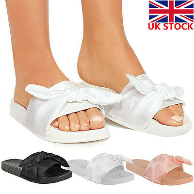UK Womens Ladies Bowknot Casual Sliders Flip Flop Slippers Beach Shoes Size 2-5
