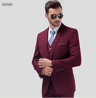 High-quality three-piece suit groom wedding official formal one button suits