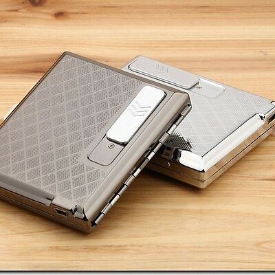 Electronic Rechargeable Windproof Flameless USB Cigarette Lighter Cigarette Case