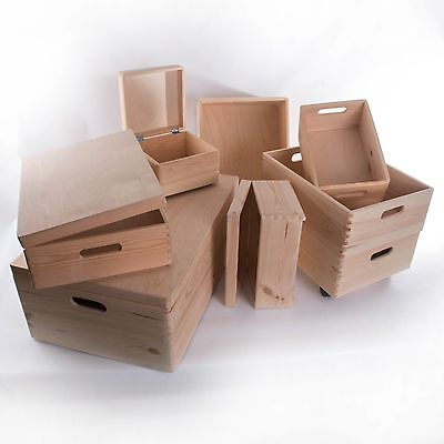 Large Wooden Storage Boxes / Plain Wood / Box with Lid / Crate Trunk Containers