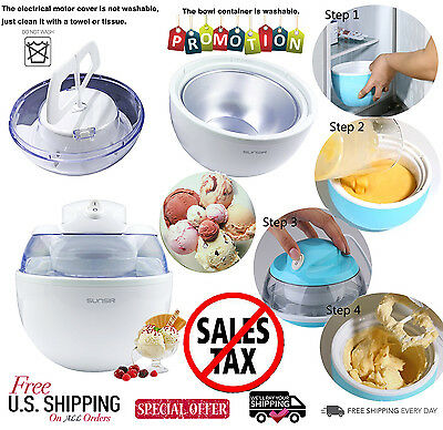 Electric Ice Cream Maker Machine Frozen Yogurt and Sorbet Dessert 3/5-Quart DIY