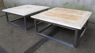 PAIR GEORGE CIANCIMINO MARBLE & STEEL END TABLES side mid century modern