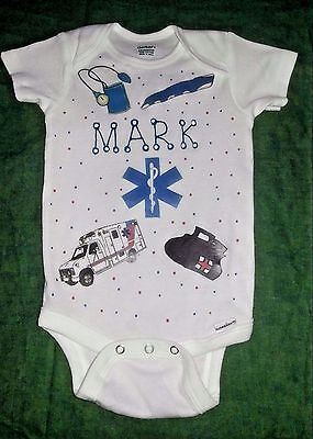 PERSONALIZED ONE PIECE  baby BODYSUIT - for the baby of an EMT MEDICAL DOCTOR!