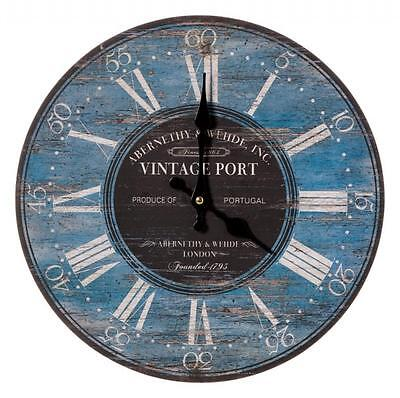 Antique Style Vintage Port Drink Gift Idea Blue Black White Round Wall Clock