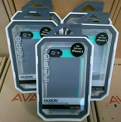 Lot of 5 Incipio FAXION GRAY/GREEN CELL PHONE CASE FOR IPHONE 5/5S