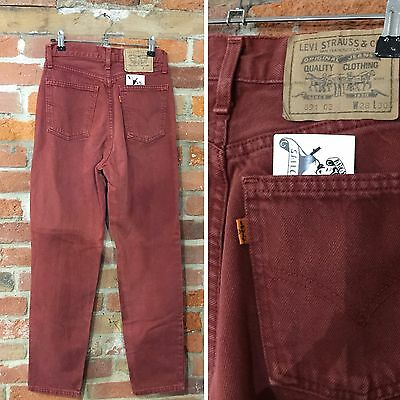 Vintage Levi'S 891 Jeans W28 L30 Brick Red Denim Orange Tab Tapered (J45)