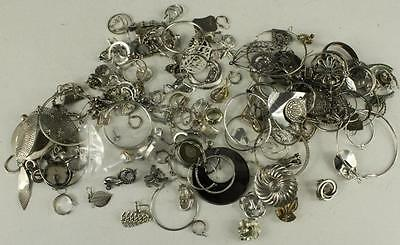 Vintage Costume Jewelry Bag Lot Earrings Silver Tone Metal Clip Pierced Craft