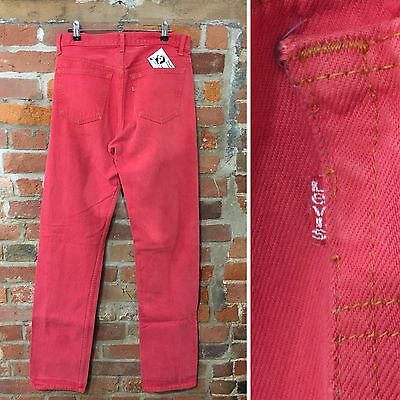 Vintage Levi'S 501 Jeans W32 L36 Long Tall Red Coloured Denim Red Tab (J57)